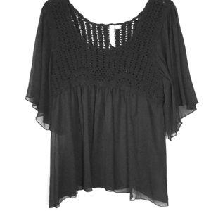 Crochet/Chiffon Sheer Top. Size L
